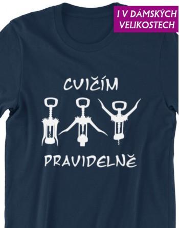 vtipné tričko cvičím pravidelně