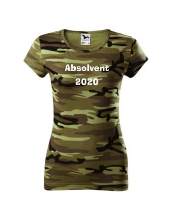absolventské tričko dámské maskáčové, školní trička