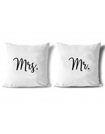 Polštář s potiskem Mr. a Mrs.
