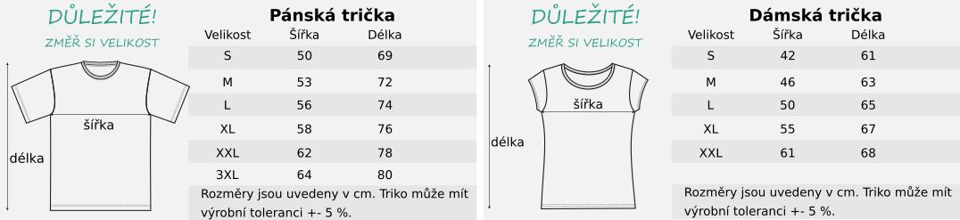 panske-damske-rozmery-tricek